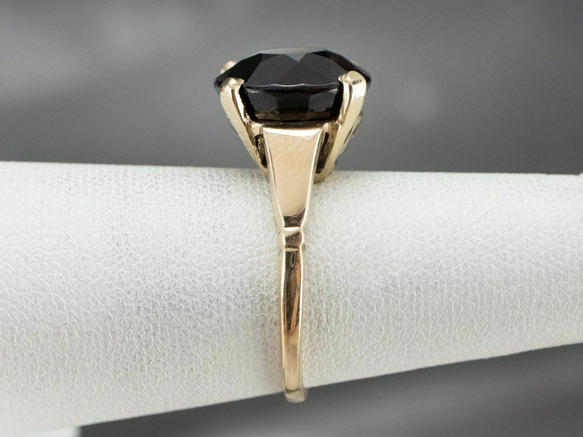 Garnet Gold Solitaire Ring - image 9