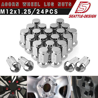 24 Pcs Mag Lug Nuts For Toyota Factory Factory Wheels On 12x1.25 Studs Car Truck