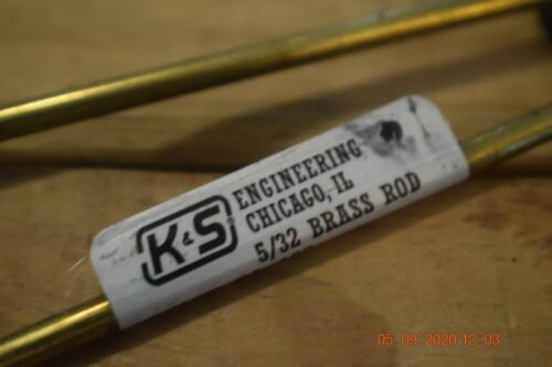 """K /& S BRASS SHAPES 165-5//32/"""" SOLID ROD 12/"""" LENGTH NEW OLD STOCK"""