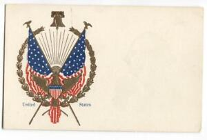 Patriotic-Postcard-American-Flags-Liberty-Bell-and-Golden-Eagle