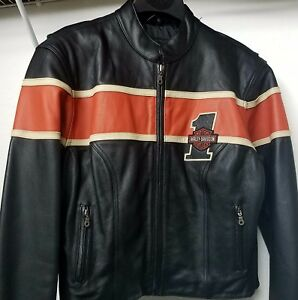 Women/'s Motorcycle Racer Soft Leather Jacket With Double Harley Orange Stripes