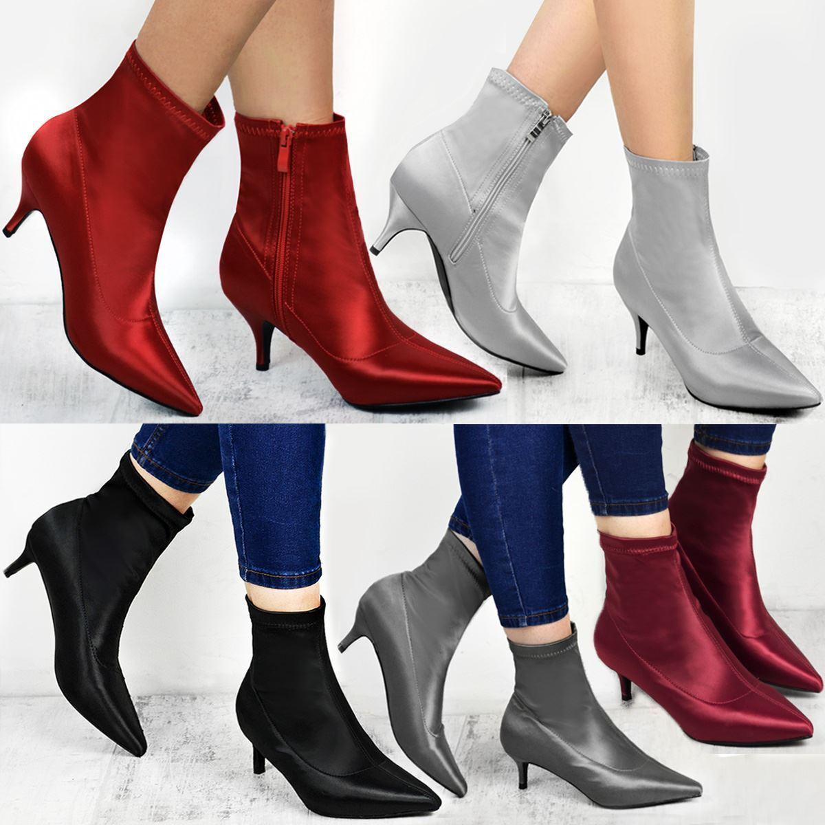 Gentleman/Lady Ladies Womens Low Kitten Heel Ankle Toe Boots Stretch Satin Pointed Toe Ankle Shoes Size Outstanding features Trendy At an affordable price WG3399 f6b337