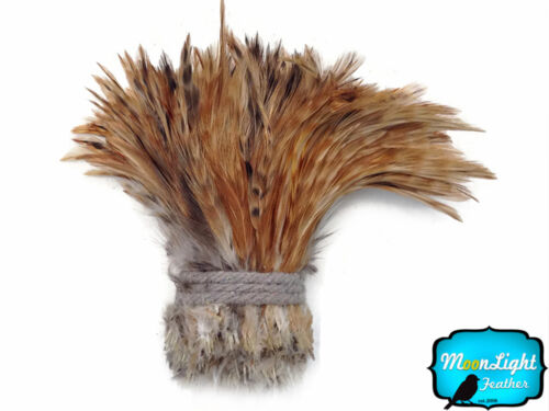4 in bande-Rouge Chinchilla Enfilées rooster neck hackle Feathers environ 10.16 cm