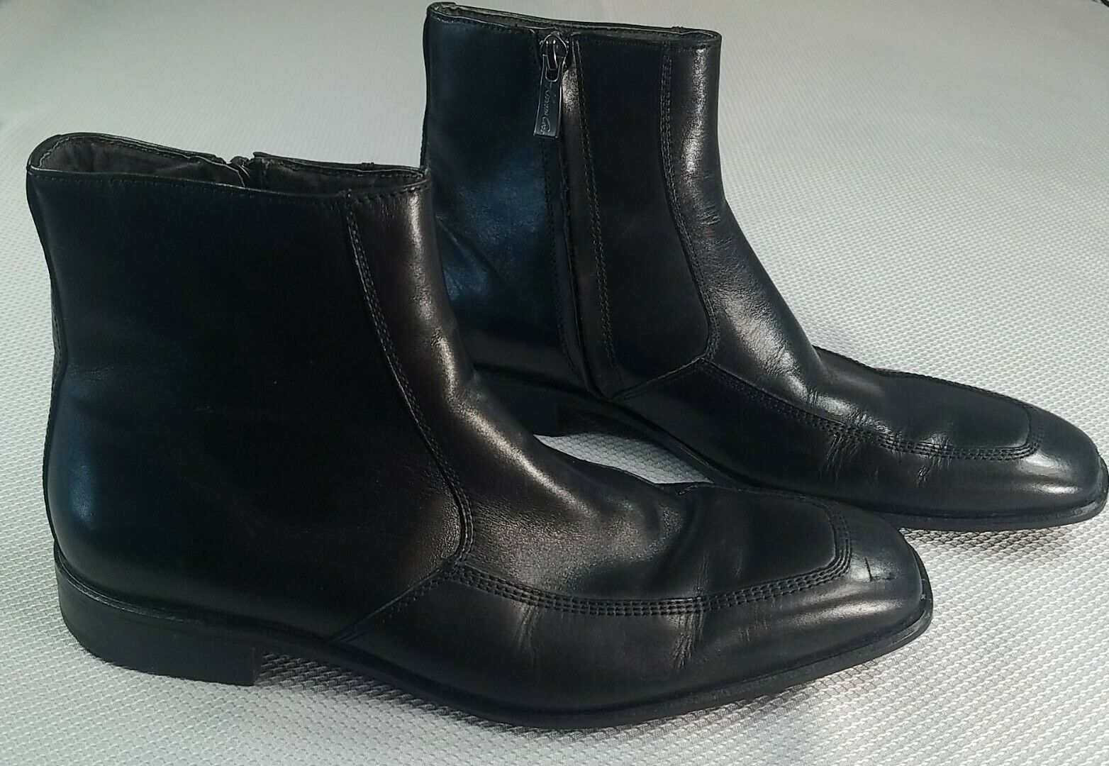 KENNETH COLE Mens Dress Shoes Black Leather High Top Side Zip Boots Size 8M