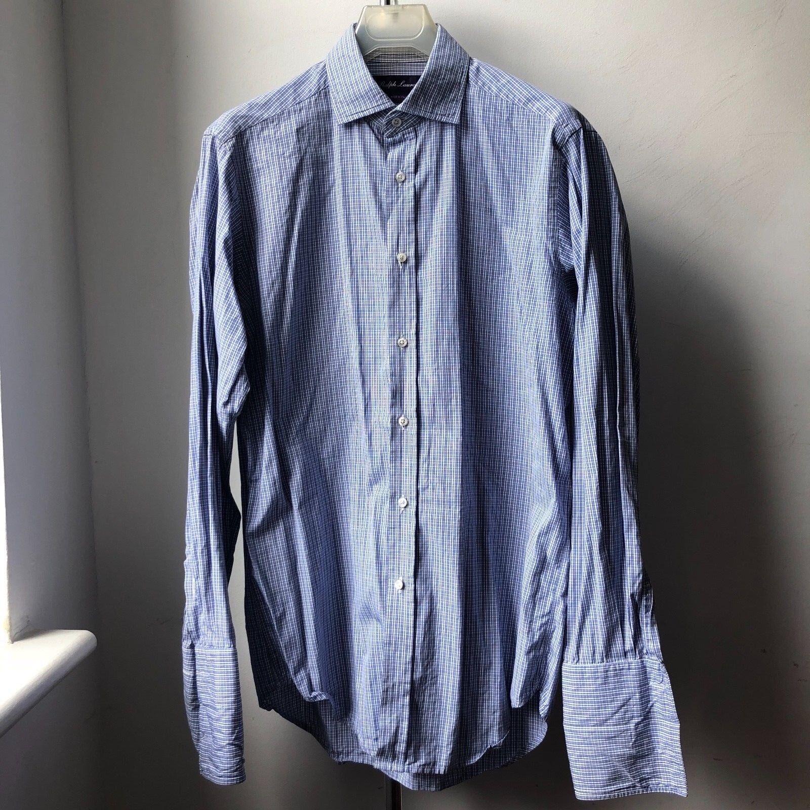 Classico di grande grande grande qualità Ralph Lauren viola Label Check Camicia SZ 15 doppio polsino 802939