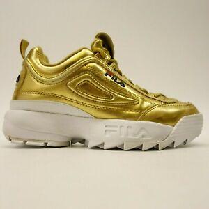 Details about FILA Disruptor II Premium Repeat US 4 EU 36 Gold Metallic Shoes Girls Kids