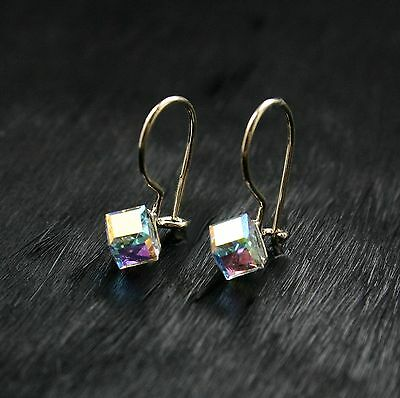Suche Nach FlüGen 9ct Yellow Gold Earrings Drop Hook Crystal Cube 5mm Ladies/kids