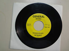 """GENERALS: You Make Me Happy 1:54-Without You 2:11-U.S. 7"""" 1967 General Records"""