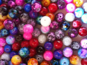 100-assorted-mixed-Marbled-mottled-effect-glass-Beads-8mm-Great-Value-Jewellery