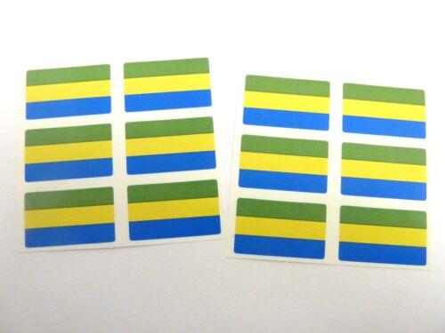 Self-Adhesive Gabon Flag Labels FR125 Mini Sticker Pack