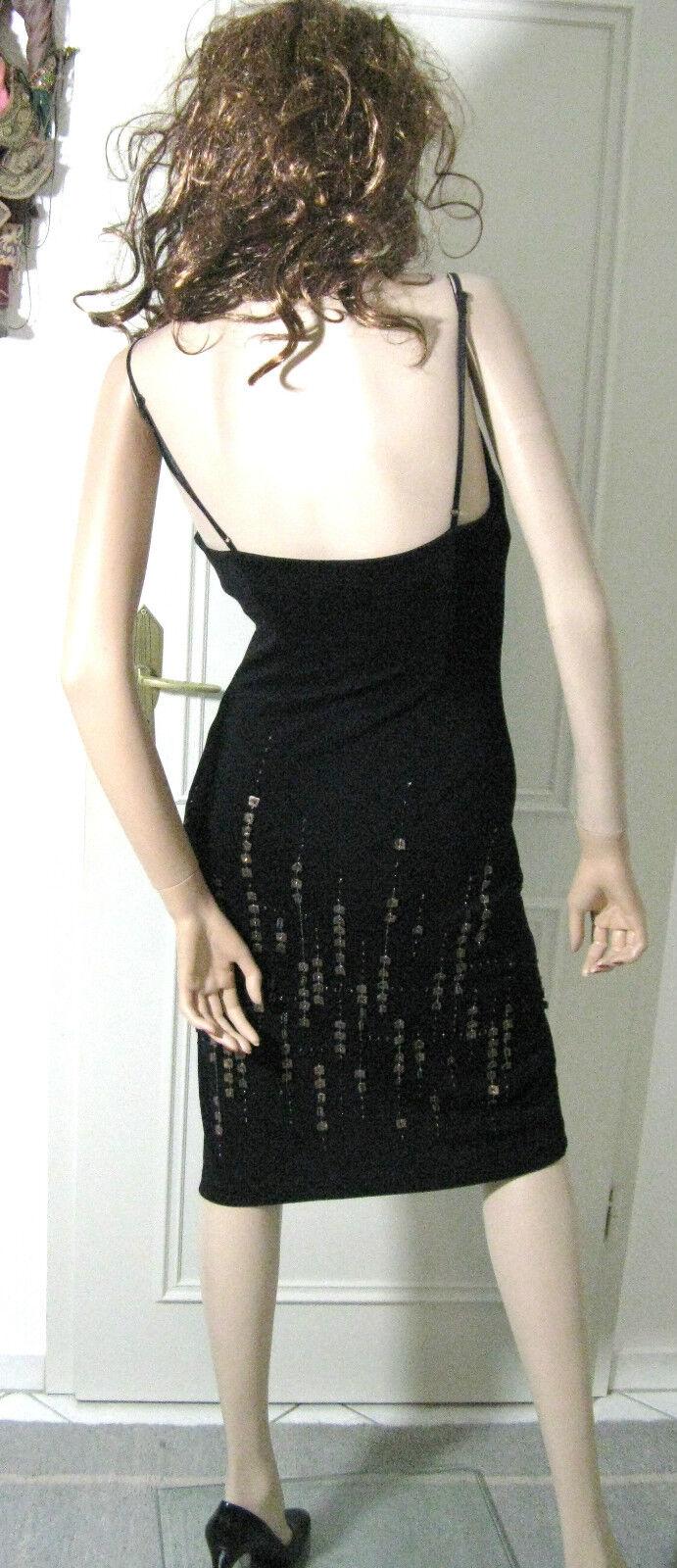 BCBG MAXAZRIA abito taglia 34 34 34 Rassiges nero pelle paillettes aderente sexy a8b9a8