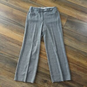 Per-Una-M-amp-S-Size-14-Grey-Brown-Check-Wide-Leg-Trousers-Palazzo-Pants-Wool-Blend