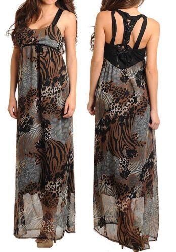 Gray//Black Leopard//Zebra//Giraffe Safari Pleather Lace-Up Tank Long Maxi Dress