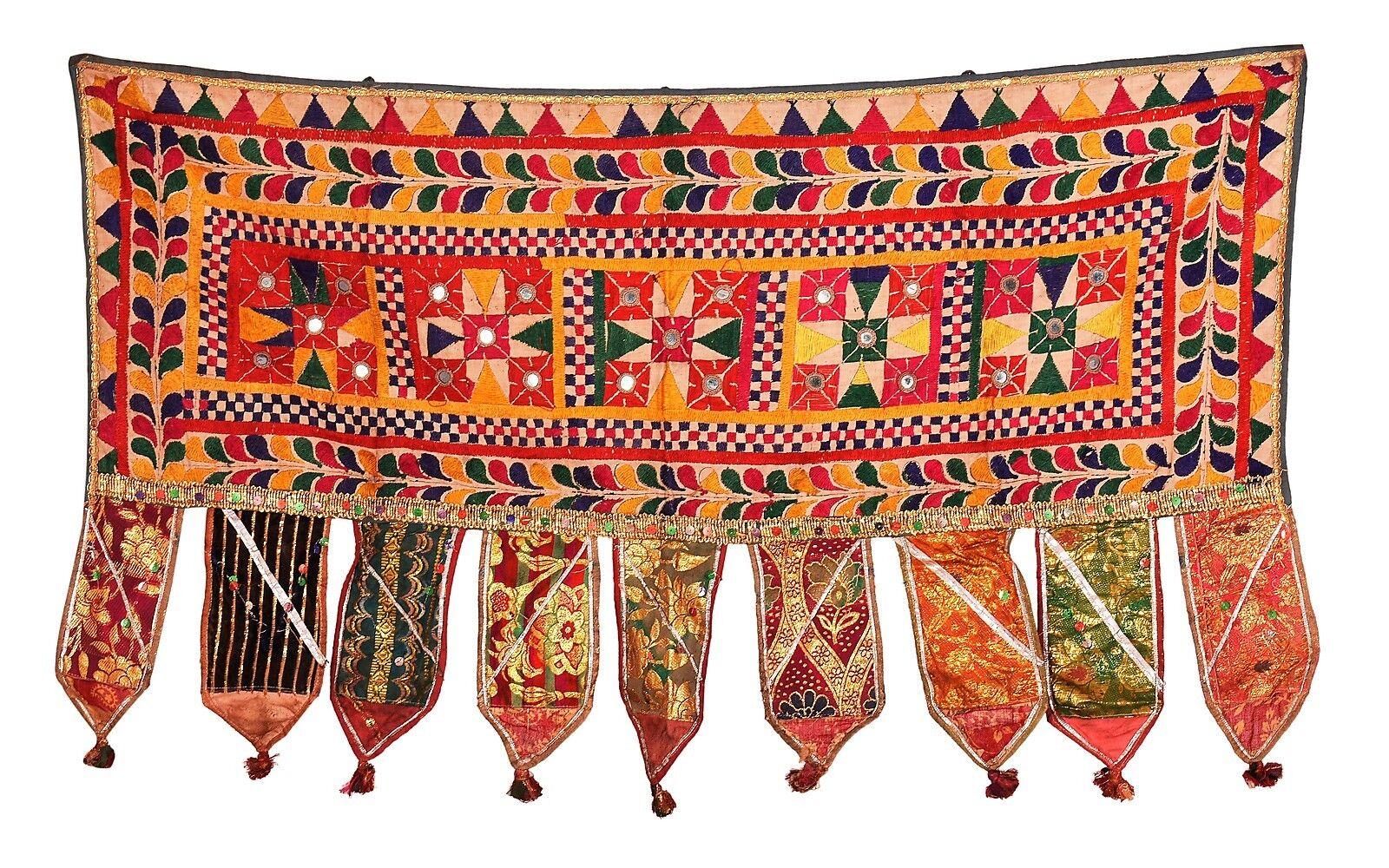 Indian Door Decor Hanging Embroiderot Vintage Cotton Window Valance Topper Toran