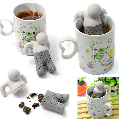 New Mr.Tea Infuser Loose Tea Leaf Strainer Herbal Spice Filter Diffuser Silicone