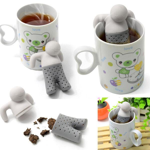 New Mr.Tea Infuser Loose Tea Leaf Strainer Herbal Spice Filter Diffuser Silicone