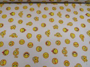 Children-039-s-Emoji-Linen-Cotton-Fabric-Curtain-Upholstery-Craft-Emoticons-Smiley