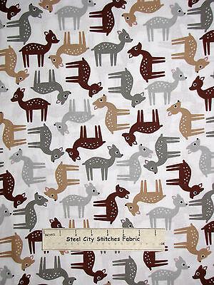 Woodland Deer Animal Fawn Cotton Fabric By The Yard Robert Kaufman Woodland Pals
