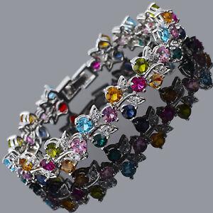 Riva-Damen-Neu-Luxus-18K-Weissgold-Vergoldet-Mehrfarbig-Tennis-Armband