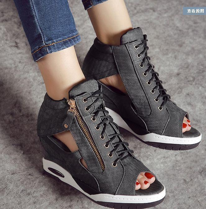 Bottines femme compensées à talon Peep Toes Lacets Denim Hollow Out Cheville Sports Baskets Chaussures
