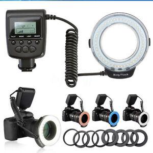 Macro-Ring-Flash-Light-Lamp-For-Nikon-Canon-DSLR-Camera-48-LED-8-Lens-Adapter