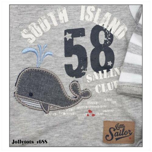 BNWT Baby Boys BABALUNO Sleepsuit /& Hat Set Grey Nautical Babygrow Set 0-9 Month