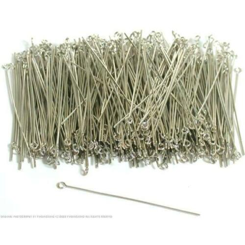 500 White Plated Brass Eye Pins For Jewelry Making