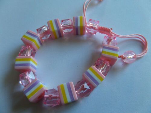 PINK SWEETIE STRIPED ALL SORT BEAD CORD BRACELET new gift bag