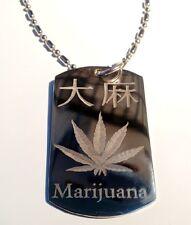 Military Dog Tag Metal Chain Necklace Kanji Japanese Character Weed Marijuana