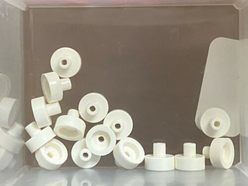 LEGO Parts QTY 15 White Tile Round 1 x 1 w Bar and Pin Holder No 20482