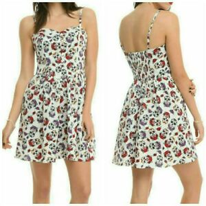 Hell-Bunny-White-Sugar-Skull-Purple-Roses-Sun-Dress-Hot-Topic-Day-of-the-Dead-SM