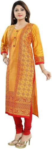 Details about  /A Line Cotton Silk Printed Kurti Long Yellow Traditional Round Neck Side Slit