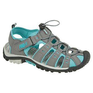 NEW Ladies Walking PDQ Sandals Grey Black Blue Touch Fastening Size 3-8 UK