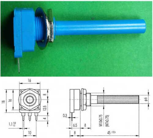 Potenziometro 6mm 1 Kohm A