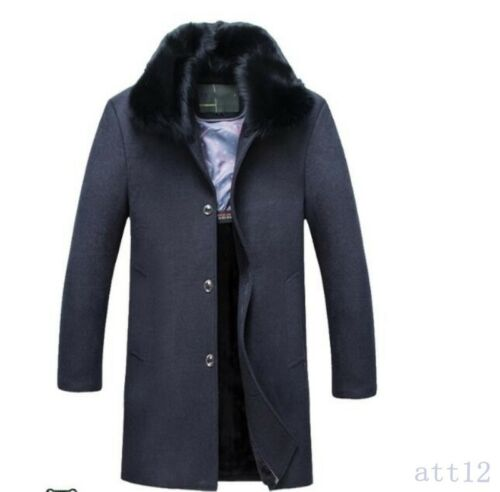 Winter Father Wool Blend Men Trench Long Coat Fur Collar Formal Jacket Thicken R