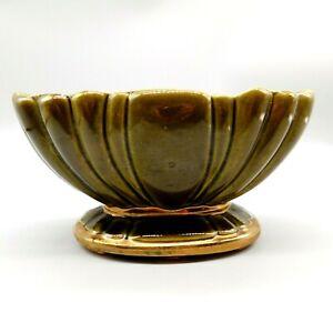 Vintage Planter Vase Pottery Dark Olive Green Gold Trim Shell Shape Pedestal