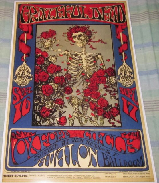 THE GRATEFUL DEAD 1966 AVALON BALLROOM REPLICA CONCERT POSTER W/PROTECTIVE SLEEV