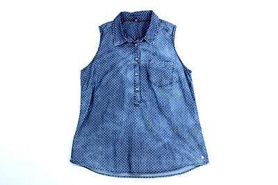 CECIL Punkt Bluse Damen jeans blau ärmellos L used Optik