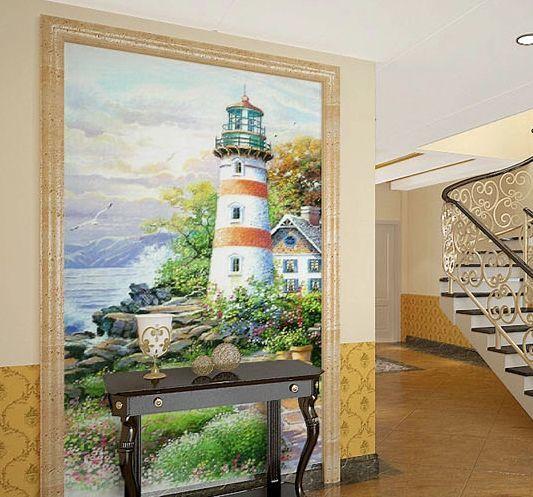 3D Hillside lighthouse  WallPaper Murals Wall Print Decal Wall Deco AJ WALLPAPER