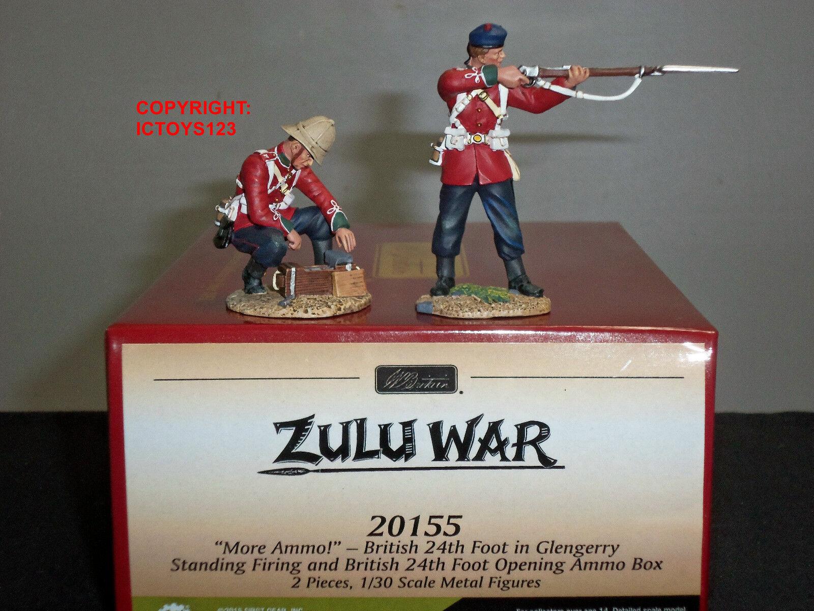 BRITAINS 20155 ZULU WAR   MORE AMMO   BRITISH 24TH FOOT IN GLENGARRY + AMMO BOX