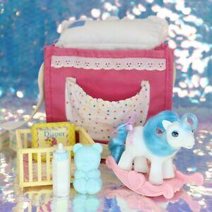 Vintage-My-Little-Pony-Baby-SLEEPY-PIE-amp-Pink-PURSE-Accessories-G1-BBE-MLP-B889