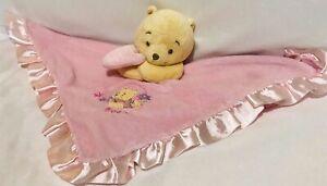 Disney-Baby-Pink-Winnie-The-Pooh-Security-Blanket-Rattle-Satin-Lovey-Flowers