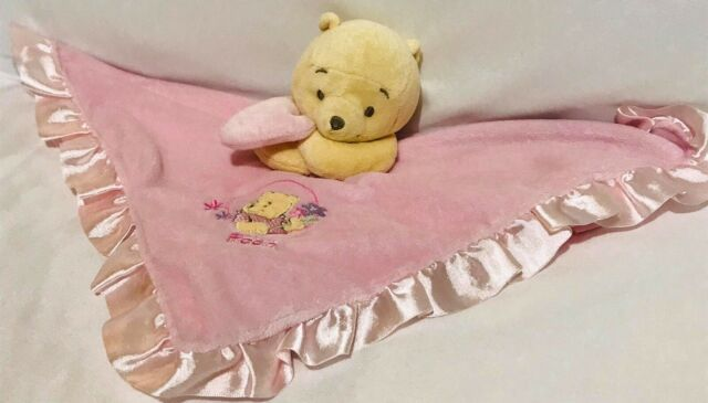 Disney Baby Pink Winnie The Pooh Security Blanket Rattle Satin Lovey Flowers
