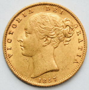 NICE 1857 Queen Victoria Young Head Gold Shield Sovereign
