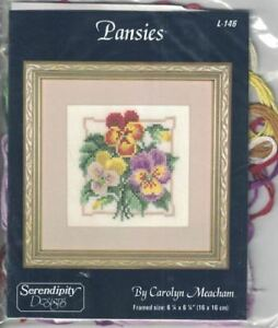 Serendipity-Designs-PANSIES-L-146-Cross-Stitch-Kit-by-Carolyn-Meacham