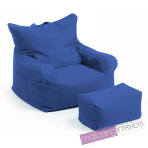 Blue-Budget-Bean-Bag-Chair-Foot-Stool-Gamer-Armchair-Garden-Beanbag-Seating