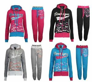 Womens-Tracksuit-Ladies-Girls-Sports-Gym-Sweatshirt-Pants-Trouser-Zipped-Hoodie