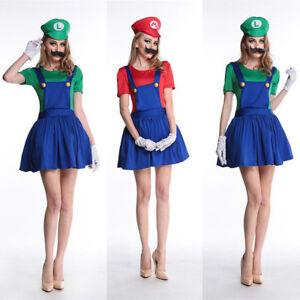 Image is loading Ladies-Super-Mario-Luigi-Costume-Adult-Plumber-Bro-  sc 1 st  eBay & Ladies Super Mario Luigi Costume Adult Plumber Bro Fancy Dress Women ...