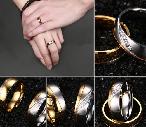 18K Or Plaqué Zircon Cubique En Acier Inoxydable Couple Anneau Hommes//Femmes Mariage Bande Taille 5-13