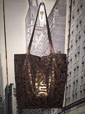 CARLOS FALCHI Fatto A Mano Bronze Metallic Faux Leopard Tote Bag - Medium